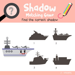 Shadow matching game of Aircraft Carrier side view transportations for preschool kids activity worksheet colorful version. Vector Illustration.