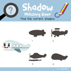 Shadow matching game of Airplane side view transportations for preschool kids activity worksheet colorful version. Vector Illustration.