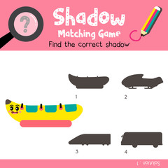Shadow matching game of Banana Boat side view transportations for preschool kids activity worksheet colorful version. Vector Illustration.