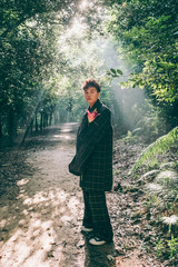 fashion man in forest