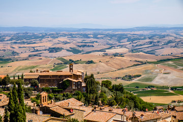 Montalcino Town over Landscape in Tuscany, Italy