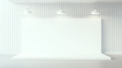 Empty white poster on white wooden wall and interior design / 3d render image