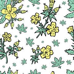 Sketch vector graphics with floral pattern for design. Flower natural design.