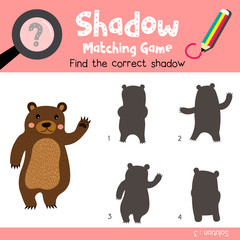 Shadow matching game of Standing Bear raising hand animals for preschool kids activity worksheet colorful version. Vector Illustration.