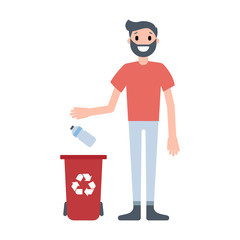 Guy throwing plastic bottle to the waste bin