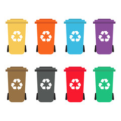 Set of colorful recycle bins flat style