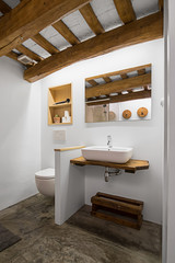 Rustic modern bathroom with white walls