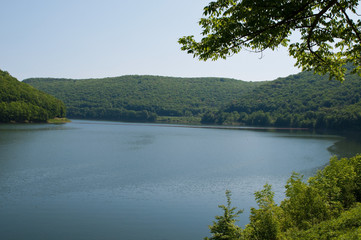 The Allegheny Reservoir in Warren County, Pennsylvania on a clear spring day
