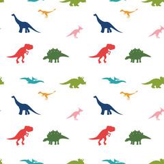 Cute cartoon dinosaurus pattern on white