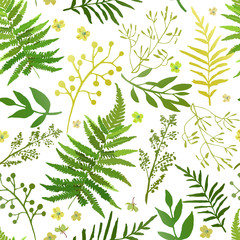 Seamless pattern with leaves. Vector floral set with hand drawn