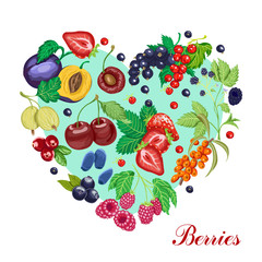 Vector heart made of various berries
