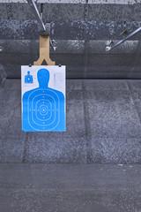 Paper shooting target at the gun range