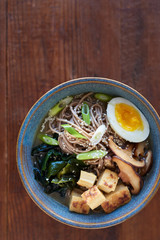 Bowl of soba noodles in hot broth