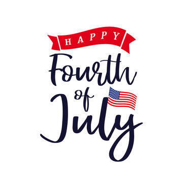 Happy 4th of July, Independence Day of USA lettering design. Happy Independence Day United States of America vector calligraphic background. Fourth of July sale illustration