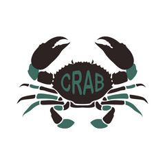 Crab Sea Life animal Vector and Icon for Logo and App Isolated Silhouette