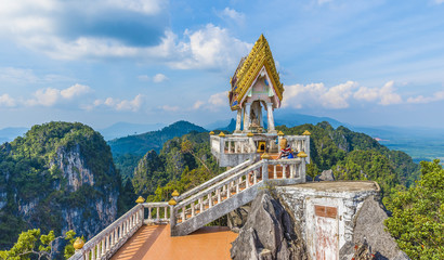 The top of  Tiger Cave temple, (Wat Tham Suea), Krabi region, Thailand Wall mural