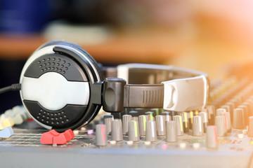 Headphone on the audio mixer board.