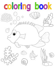 isolated, book coloring book for children, fish in the sea