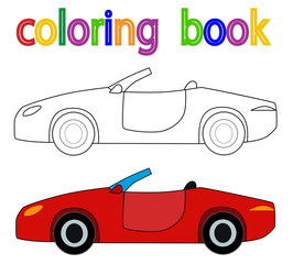 children's book coloring car, red