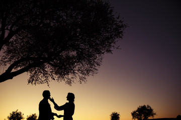 Silhouette of bride caressing groom at dramatic sunset surrounded by trees