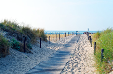 Beach on the German Baltic Sea with beach chair and holiday feeling with sand