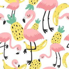 Cute hand drawn seamless pattern with pink flamingo. Vector illustration.