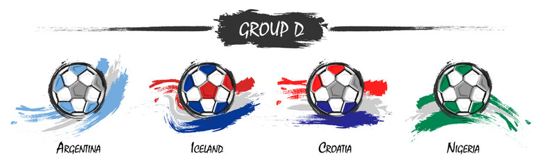 Set of football or soccer national team group D . Watercolor paint art design . Vector for international world championship tournament cup 2018 .