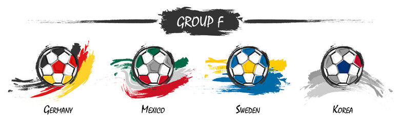 Set of football or soccer national team group F . Watercolor paint art design . Vector for international world championship tournament cup 2018 .