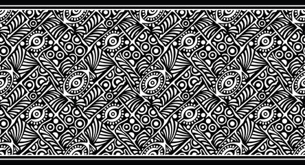 Seamless black and white vector tribal border design