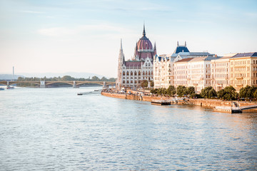 Landscape view on the famous parliament building on Danube river during the sunset in Budapest city, Hungary