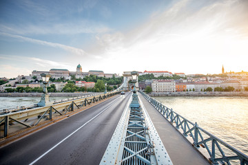 Beautiful cityscape view on the famous Chain bridge and Buda riverside during the sunset in Budapest city, Hungary