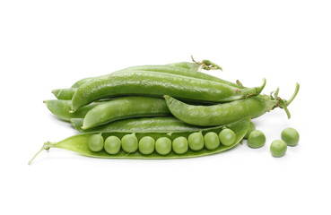 Fresh green peas with pod isolated on white background