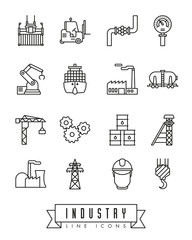 Industry line icons vector set.
