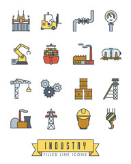 Industry filled line icons vector set.