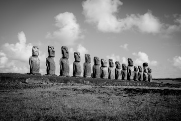 Moais statues, ahu Tongariki, easter island. Black and white picture
