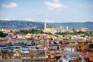 Aerial cityscape view from saint Stephen church on the old town of Budapest city, Hungary