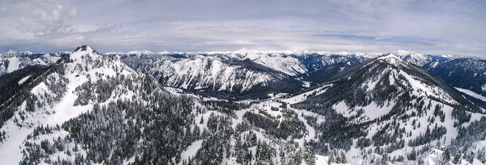 Aerial Panorama of Winter Sports Resort Landscape