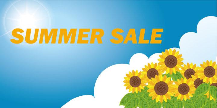 夏の販促用テンプレート 青空にヒマワリと雲のイラスト・背景 サマーセール ベクターデータ
