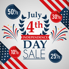sale discount card fireworks and flags american independence day vector illustration