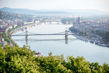 Aerial view on Budapest city with Chain bridge on Danube river and Parliament building during the morning light in Hungary