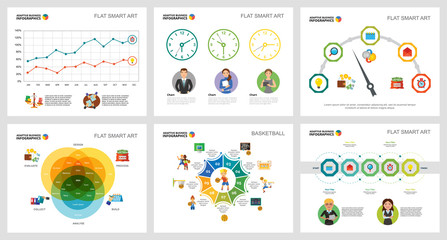 Colorful basketball and finance concept infographic charts set. Business design elements for presentation slide templates. For corporate report, advertising, leaflet layout and poster design.