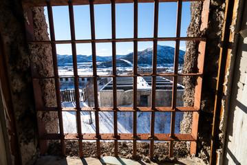 View through latticed window