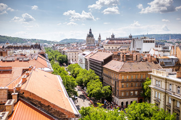 Top view on Andrassy avenue with old residential buildings and saint Stephen church in Budapest city, Hungary