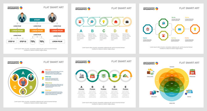 Colorful planning and strategy concept infographic charts set. Business design elements for presentation slide templates. For corporate report, advertising, leaflet layout and poster design.