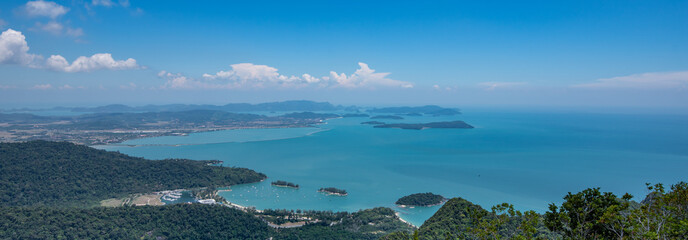Panoramic view from the observation deck. Langkawi Island, Malaysia.