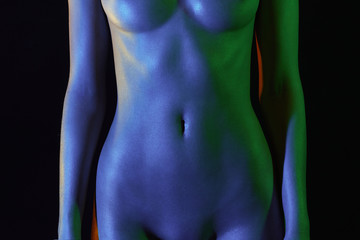 female stomach and chest, plastic surgery. Nude Woman