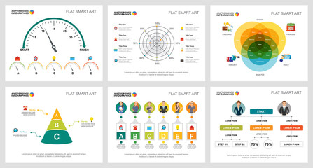Colorful research or training concept infographic charts set. Business design elements for presentation slide templates. For corporate report, advertising, leaflet layout and poster design.