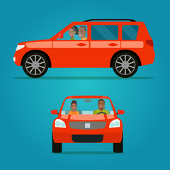 Red car two angle set. Car with couple side view and front view.Afro American couple in the car. Vector flat style illustration