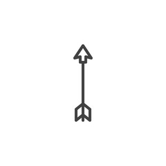 Archer arrow outline icon. linear style sign for mobile concept and web design. Arrow feather simple line vector icon. Symbol, logo illustration. Pixel perfect vector graphics