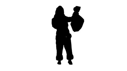 Silhouette Santa claus with a sack of gifts dance